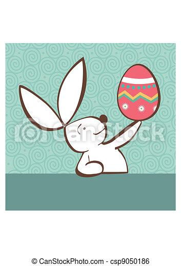 Conejo de Pascua con huevo pintado - csp9050186