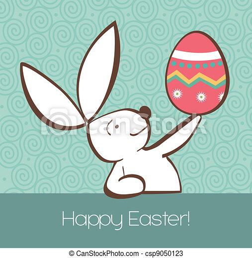 Conejo de Pascua con huevo pintado - csp9050123