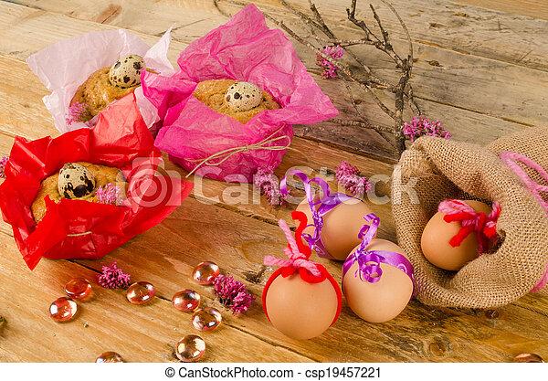 Huevos y Mona de pascua - csp19457221