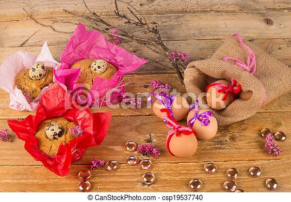 Huevos y Mona de pascua - csp19537740