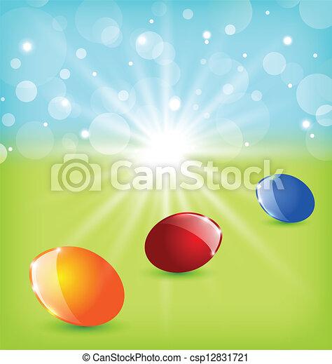 Antecedentes de Pascua con huevos coloridos - csp12831721
