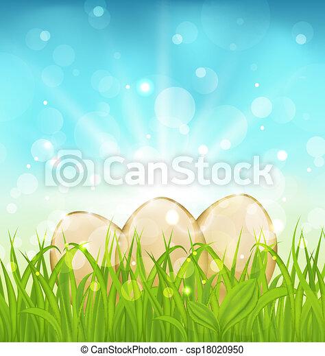 Trasfondo de Pascua con huevos en la hierba - csp18020950