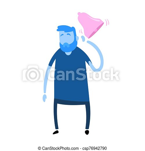 icon., hombre, blanco, oye, resonante, caricatura, vector, aislado, tinnitus., illustration., fondo., diseño, plano, colorido, el suyo, sufrimiento - csp76942790