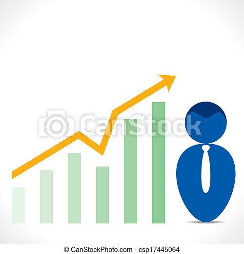 icono de hombres con gráfico de negocios - csp17445064