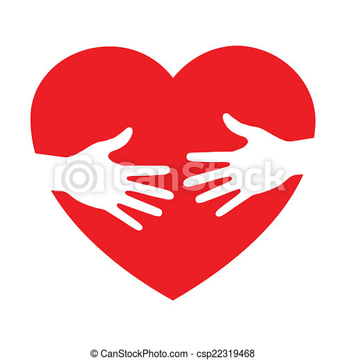 icono del corazón con manos cuidadosas - csp22319468