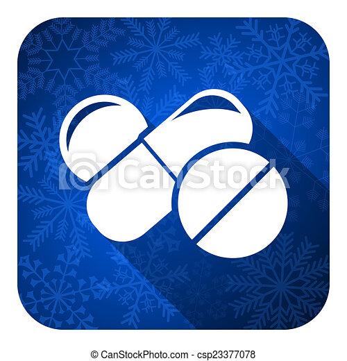 icono plano de medicina, botón de Navidad, símbolo de drogas, signo de pastillas - csp23377078