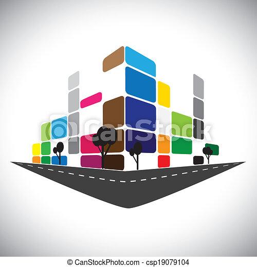 Icono Vector - edificio de apartamentos caseros o súper mercado o espacio de oficina. Este gráfico también puede representar estructuras comerciales urbanas, hoteles, súper centros, bancos, horizontes, rascacielos, etc - csp19079104