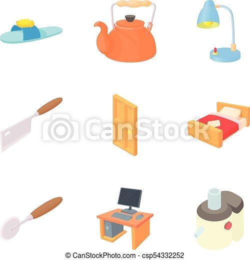 Iconos caseros, estilo de dibujos animados - csp54332252
