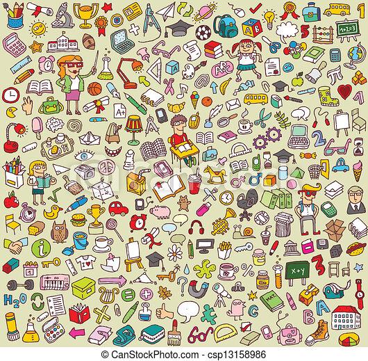 La gran colección de iconos de la escuela y la educación - csp13158986
