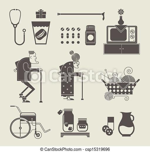 iconos de abuela - csp15319696