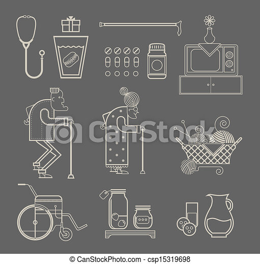 iconos de abuela - csp15319698