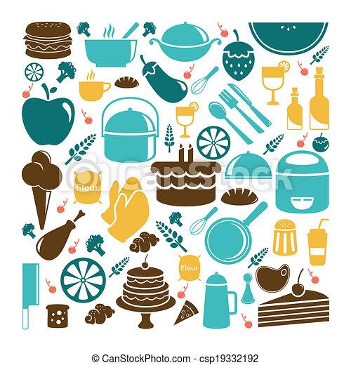 iconos de comida - csp19332192