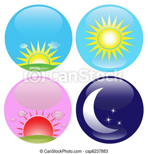 iconos de día y de noche listos - csp6237883