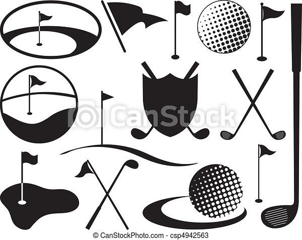 iconos de golf blanco y negro - csp4942563