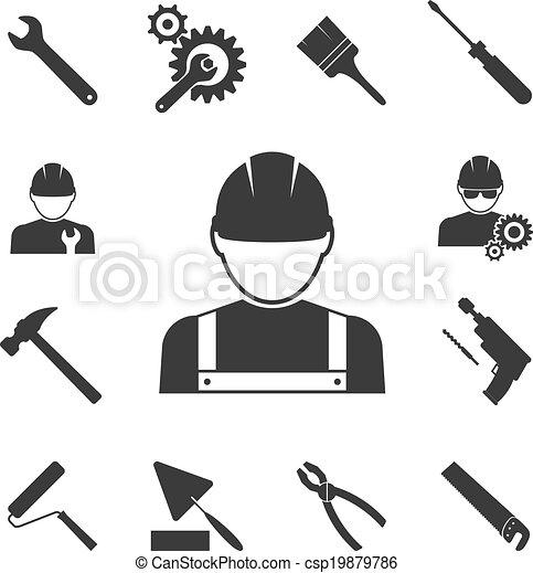 iconos de obreros - csp19879786