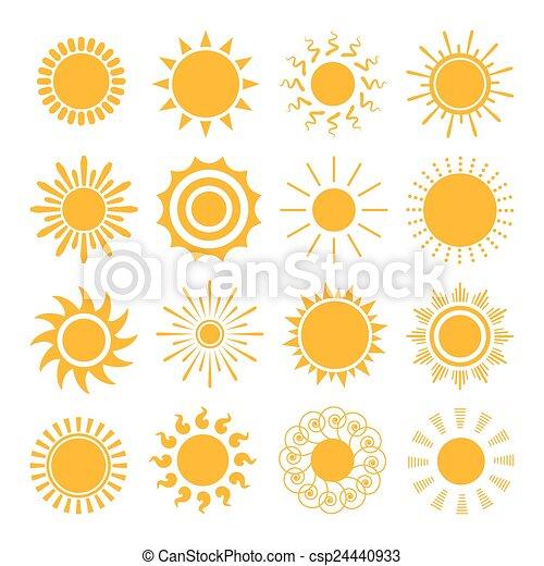 iconos de sol naranja - csp24440933