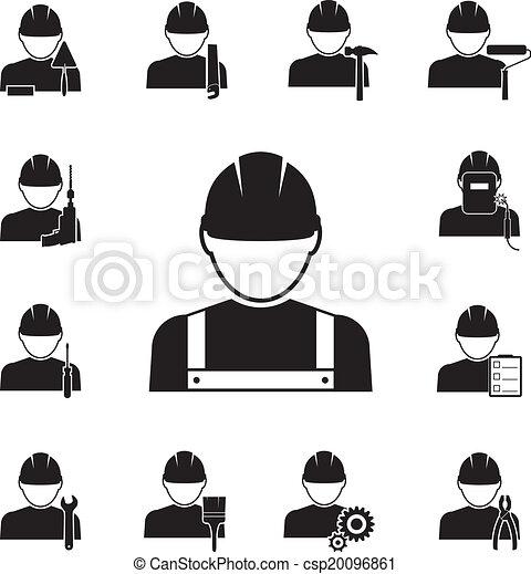 Iconos de trabajadores unidos con diferentes herramientas - csp20096861