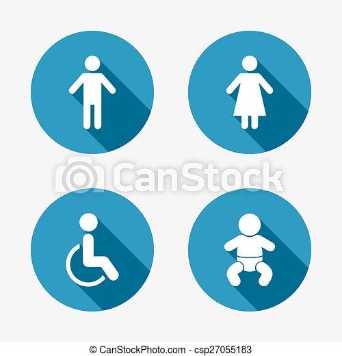 iconos de WC. Señales humanas o femeninas. - csp27055183