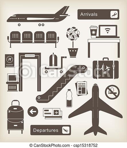 iconos del aeropuerto - csp15318752