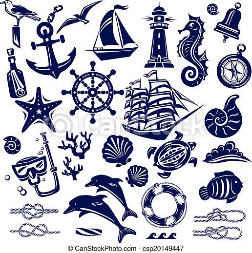 iconos del mar de verano - csp20149447