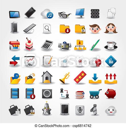 iconos de Internet y sitios web, iconos de Web, iconos fijados - csp6814742