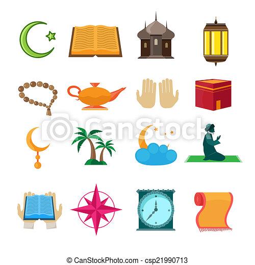 Iconos islámicos establecidos - csp21990713