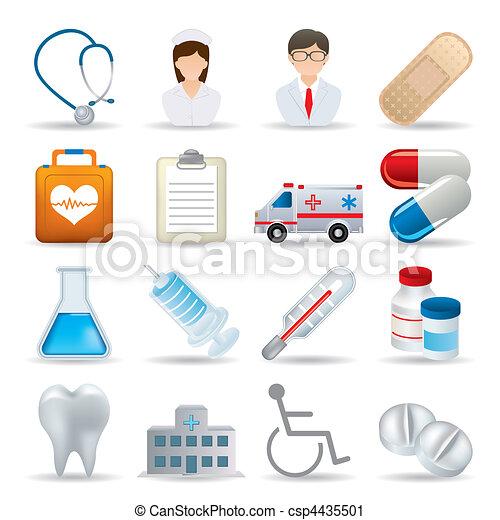 iconos médicos realistas preparados - csp4435501