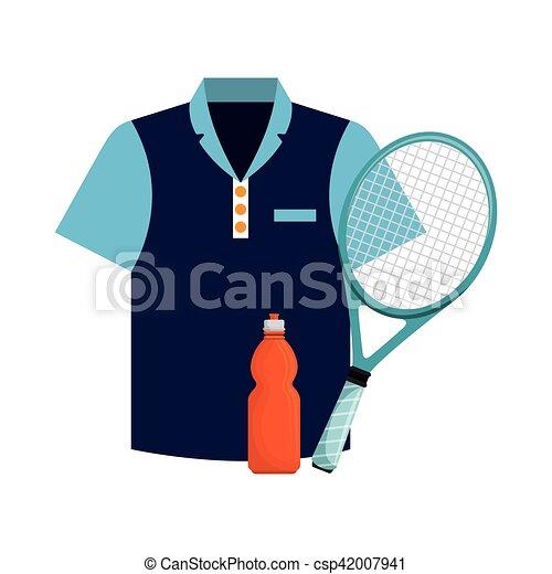 Agua de botellas de camiseta y iconos de tenis raquetas - csp42007941