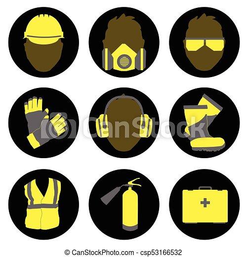 Iconos y señales de seguridad y salud - csp53166532