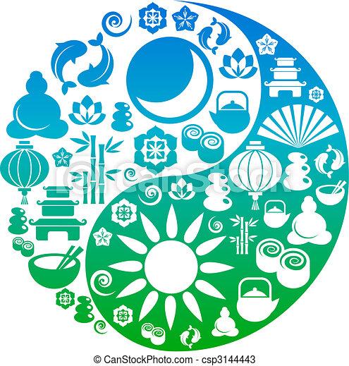 El símbolo del yin yang hecho de iconos zen - csp3144443