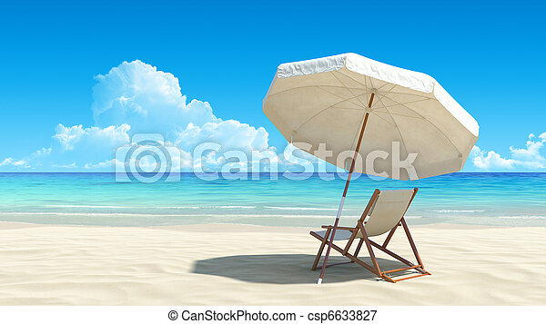 Una silla de playa y un paraguas en una playa tropical idílica - csp6633827