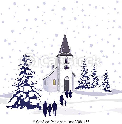 La escena de la iglesia de invierno - csp22081487