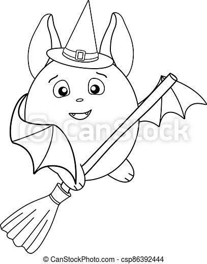 ilustración, acción, lindo, moscas, murciélago, element., libro, coloring., colorido, -, grasa, escoba, murciélago, magia, sombrero, bruja, escoba, lineal - csp86392444