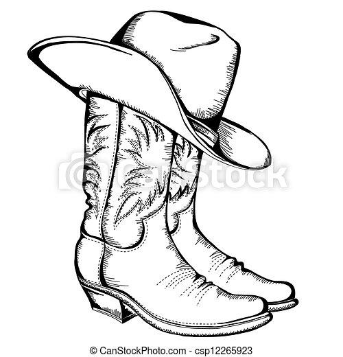 Botas de vaquero y sombrero. Ilustración gráfica del vector aislada - csp12265923