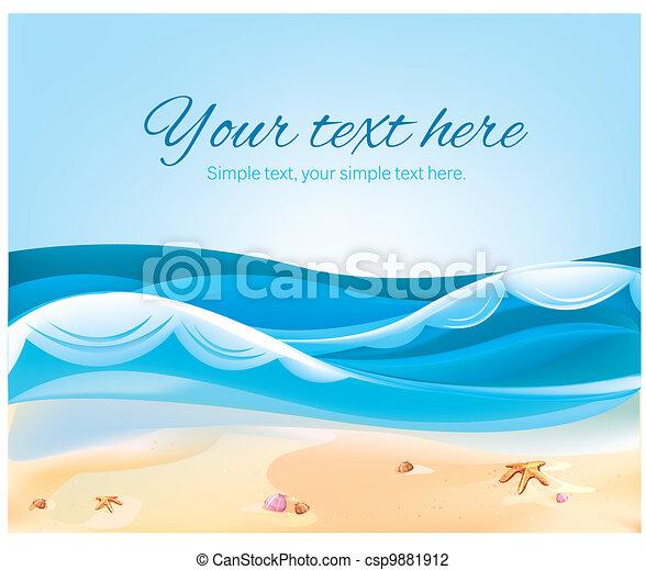 Ilustración color de Ocean Beach en verano - csp9881912