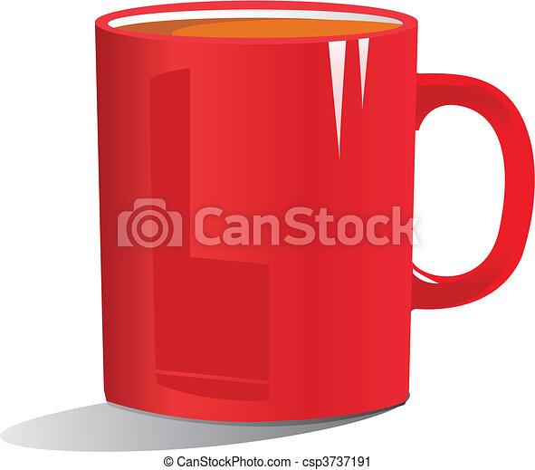 Ilustración de café en una taza roja - csp3737191