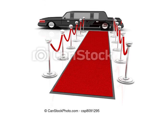Ilustración de una alfombra roja VIP que conduce a la limusina. - csp8091295