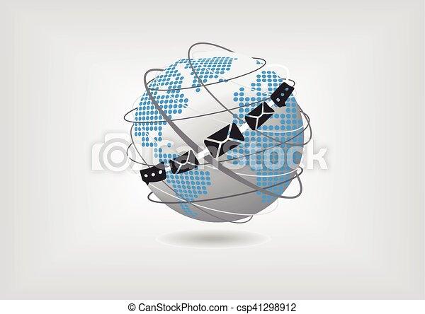 Ilustración de vectores del mundo, mapa, correo y mensajería - csp41298912