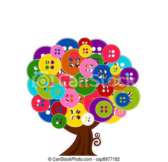 Ilustración del vector de un árbol abstracto con botones aislados de fondo blanco - csp8977182