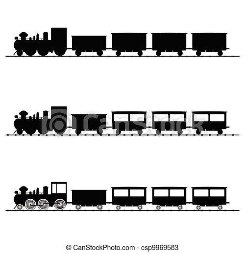 Ilustración del vector del tren silueta negra - csp9969583