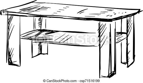 Dibujo de mesa, ilustración, vector de fondo blanco. - csp71516199