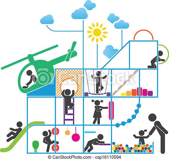 Ilustración pictograma de la infancia - csp16110594