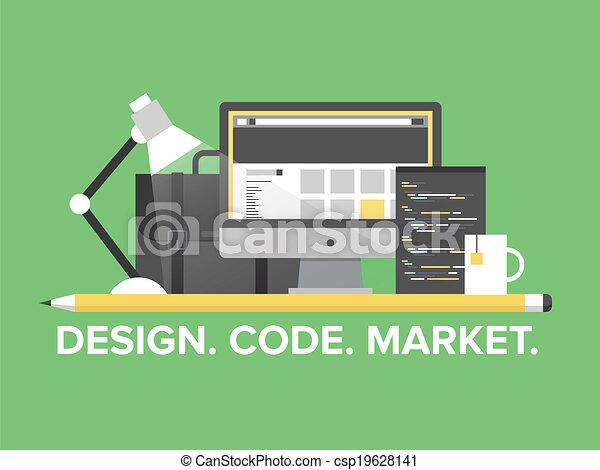 Ilustración plana de programación web - csp19628141