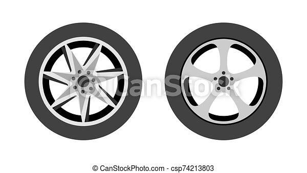 ilustración, plano de fondo, -, rueda, tienda, logotipo, o, neumático, vector, blanco, reparación, icono, conjunto, wheels., aislado - csp74213803