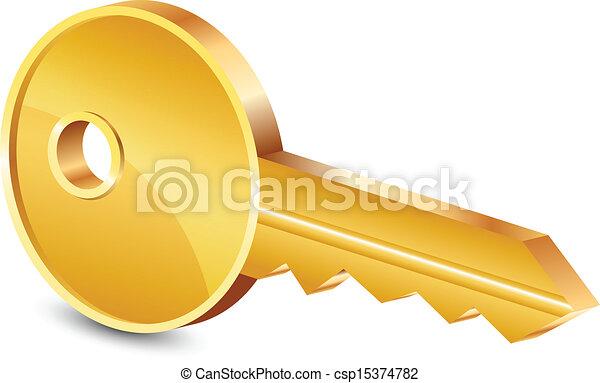 Ilustración del vector de la llave de oro - csp15374782