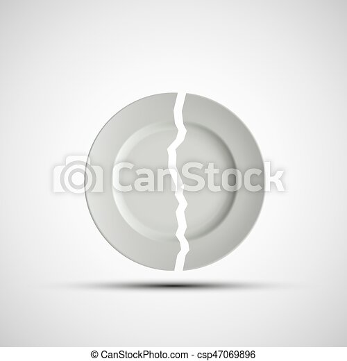 Imágenes de un plato blanco roto - csp47069896