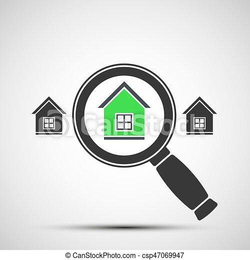 Imágenes de una lupa y bienes raíces - csp47069947
