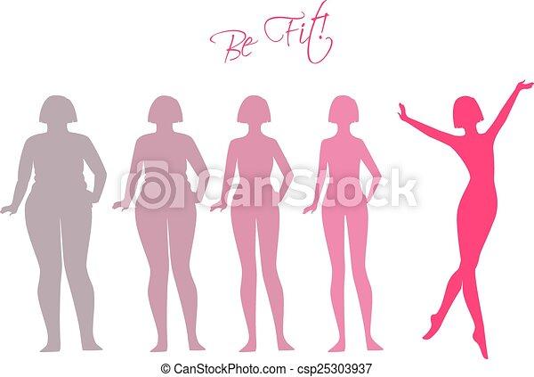 En forma, imágenes de silueta de mujer - csp25303937