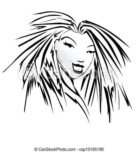 Imagen vectora de la cara de una mujer - csp10165198