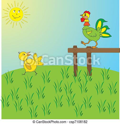 Imagen de un gallo y un pollo - csp7108182